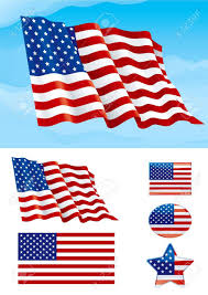 Flag Day Usa Set Of American Flag Flag Of Usa On Blue Sky Isolated On White