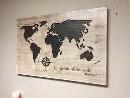 wood wall art carved world map spiritual wall decor biblical