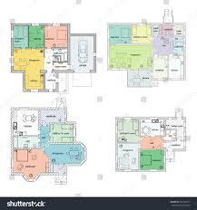 stock floor plans architectural floor plans suburban houses set stock vector