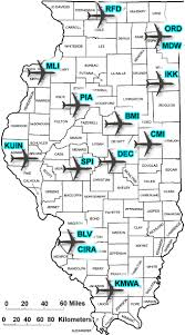 illinois map usa illinois airports and major usa airlines