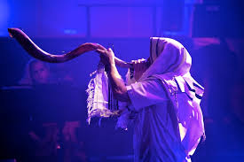 shofar blew shofar blowing at the annual feast of tabernacles photo courtesty
