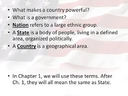 what country makes chapter 1 principles of government what makes a country