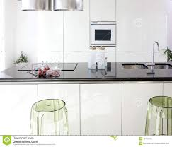 interior design of modern white kitchen royalty free stock