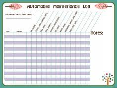 vehicle maintenance log car maintenance log editable printable