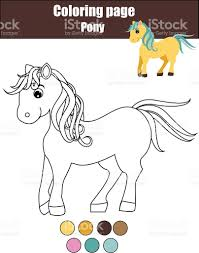 coloring page with cute pony horse educational game drawing kids