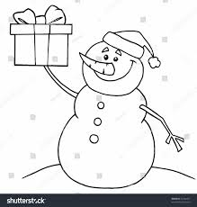 black white coloring page outline snowman stock vector 52544107