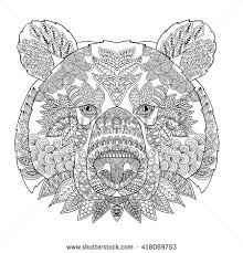 bear head coloring book adults vector stock vector 423558547