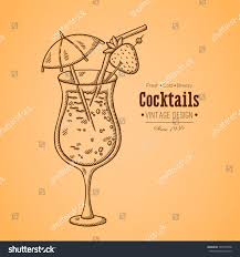 vintage cocktail vector vintage illustration cocktail easily editable vector stock vector