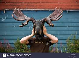 man holding a moose head over his own head wearing a t shirt that