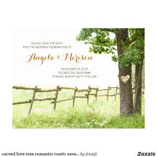 carved love tree romantic rustic save the date postcard save the
