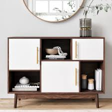 white storage cabinet for kitchen ellipse multipurpose storage cabinet with display shelves and doors entryway modern buffet or kitchen sideboard with glam gold brass accent walnut