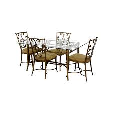 56 off glass and gold wrought iron dining set tables glass and gold wrought iron dining set