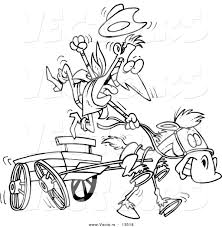 vector of a cartoon cowboy and fast horse with a wagon coloring