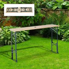 aosom outsunny 6ft folding height adjustable picnic table w