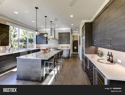 modern gray kitchen features dark image u0026 photo bigstock