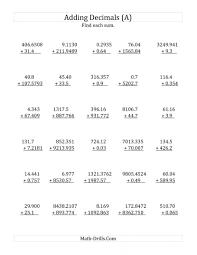 addition and subtraction decimals worksheet koogra