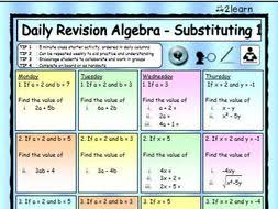 math daily revision worksheets algebra 1 substituting worksheet