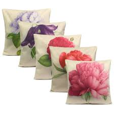 Rose Home Decor rose flowers cotton linen throw pillow case sofa bed car cushion