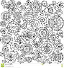 seamless asian ethnic floral mandala doodle black and white