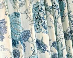 Teal Patterned Curtains Floral Curtains Etsy