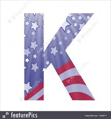 letters and numbers american flag letter k stock illustration