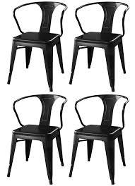 Black Metal Chairs Dining Amerihome Loft Glossy Black Metal Dining Chairs 4 Dchairb