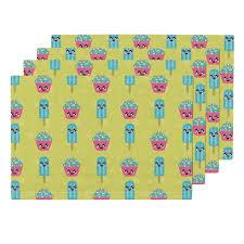 lamona cloth placemats featuring kawaii food by islandmama10