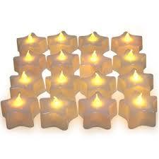 star shaped tea lights set of 16 pentagram star shape led battery tea candle lights with