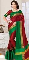 Buy Green Plain Cotton Silk Plain Raw Silk Saree Red Low Price Online Collection Bz5497d82297