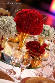 red wedding centerpieces with gold details bodas weddings