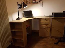 Corner Desk With Shelves by Large Curved Corner Desk With 4 Shelves And 3 Drawers In