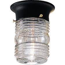 outdoor ceiling flush mount light fixture with clear marine glass black progress lighting