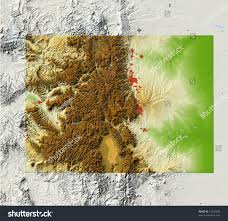 Colorado Elevation Map by Colorado Shaded Relief Map Major Urban Stock Illustration 15532996