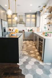 kitchen floor inspiration idea stained checkered concrete floors