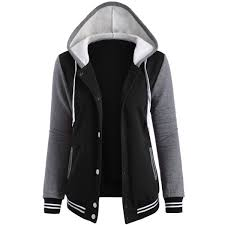wholesale contrast sleeve fleece baseball hoodie jacket m black