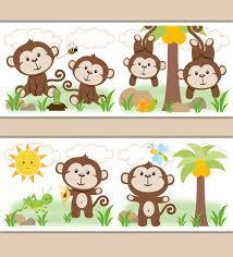 monkey wallpaper for walls monkey wallpaper border wall art decal baby boy nursery stickers
