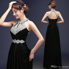 2016 long black spring evening dresses crystals beaded prom
