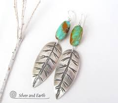 feather earings sterling silver feather earrings with turquoise southwestern