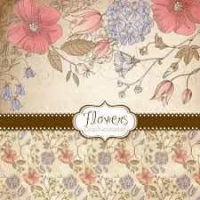 Small Invitation Cards 5 Flower Designs Digital Papers Clipart And Card Templates