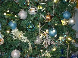 Christmas Tree With Blue Decorations - 9 blue and silver christmas ornaments merry christmas
