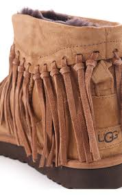 ugg womens shoes uk ugg womens ugg australia wynona fringe suede ankle boot chestnut
