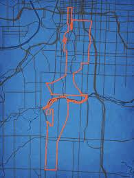 Kauffman Stadium Map Waddell U0026 Reed Kansas City Marathon Course Map City Prints