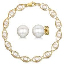 pearl bracelet with yellow gold images 9ct yellow gold white pearl bracelet stud earring set 9ct gold jpg