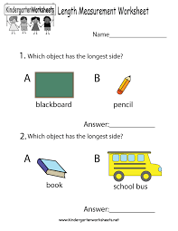 Math Worksheets Kindergarten Length Measurement Worksheet Free Kindergarten Math Worksheet