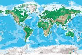 World Atlas Maps by World Topography Map Wall Mural Miller Projection