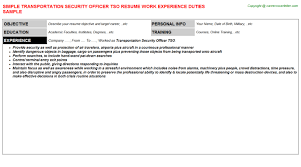 Security Guard Job Description For Resume by Transportation Security Officer Tso Resume Sample