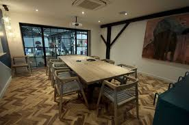 modern meeting rooms with exposed brick and wood robin at work