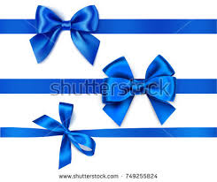 blue bows set decorative blue bows horizontal ribbons stock vector 749255824