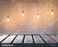 Wooden Table Empty Top Wooden Table Blank Brick Stock Photo 499668394