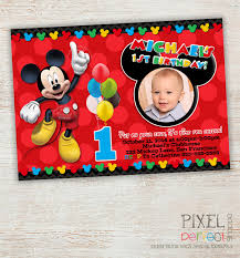 1 birthday invitation turning one mickey mouse birthday invitation clubhouse